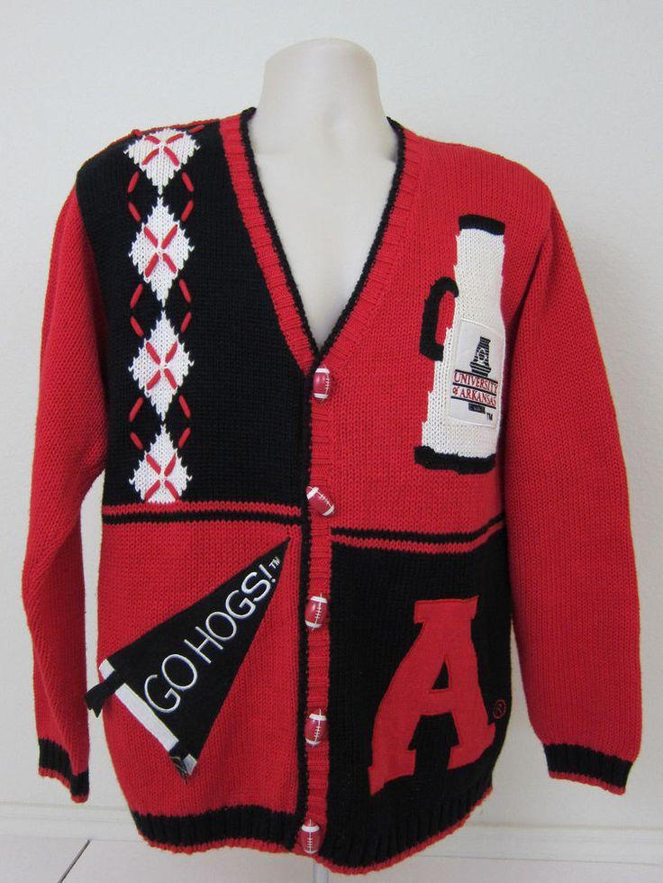 BIRCH BROS Sweater M Red University Arkansas Hogs Football Basketball Varsity #BirchBros #ArkansasRazorbacks