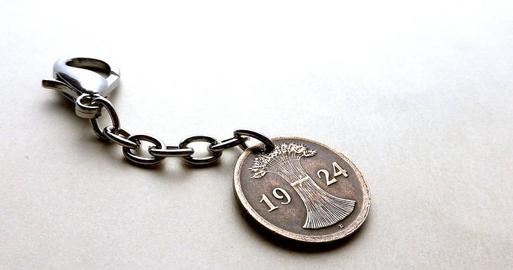 German charm, Purse charm, Keychain, Agricultural, Farming, Wheat sheaf, Coin charm, Handbag charm, Germany, Coins, Charms, Girls gift, 1924 by CoinStories on Etsy