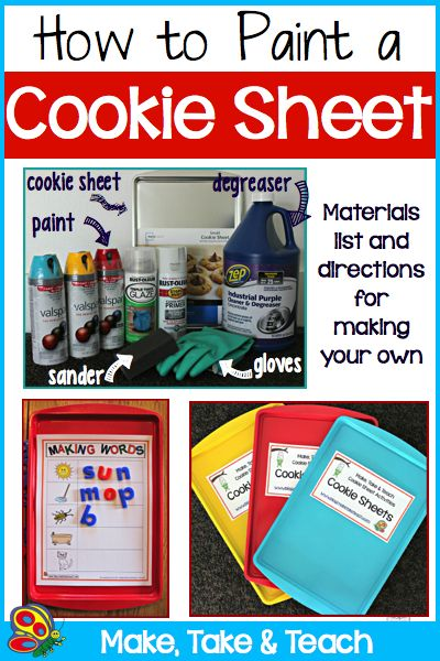 Fun little summer project (okay, not too little) for adding a little color into your center activities.  Step-by-step directions for creating colorful cookie sheets.