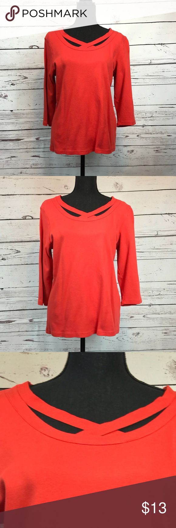 Liz Claiborne New York 3/4 Sleeve Red Top Size L Classy red Liz Claiborne 3/4 sleeve red top that can be worn with just about anything. I love the detailing around the neckline that changes this from an ordinary top to an extraordinary top. Made with very soft 100% cotton. Perfect for all seasons! Liz Claiborne Tops Tees - Long Sleeve
