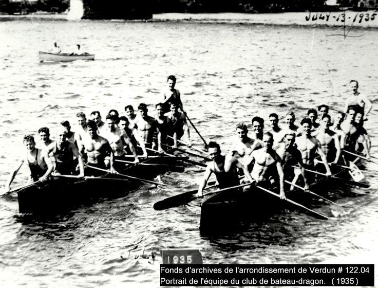 Portrait de l'équipe du club de bateau-dragon (1935)    Crédit: Fonds d'archives de l'arrondissement de Verdun