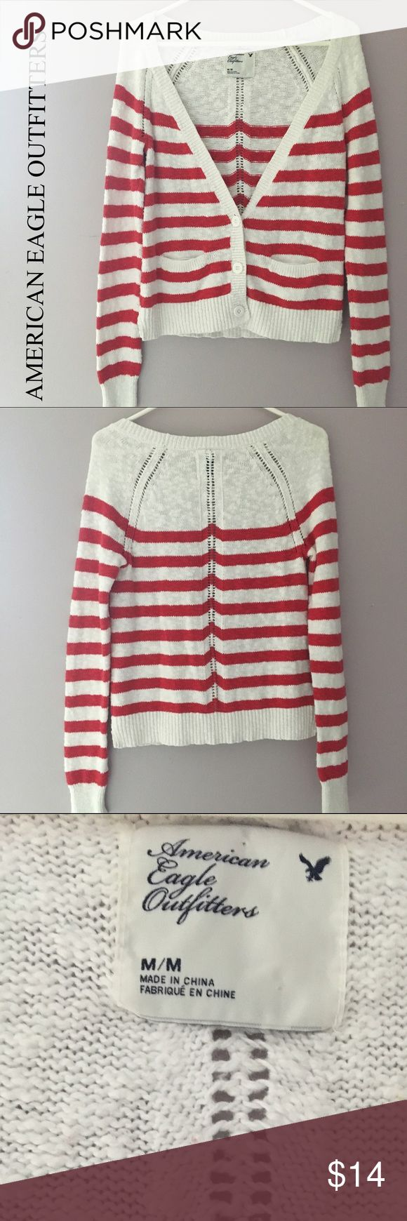"""AEO nautical cardigan American Eagle Outfitters nautical striped cardi, size M. 100% cotton, 24"""" long, 17"""" pit to pit. Pair with shorts or capris & flips! Excellent condition, smoke free home! American Eagle Outfitters Sweaters Cardigans"""