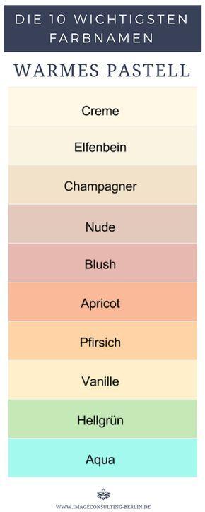 Warme Pastellfarben sind Creme, Elfenbein, Champagner, Nude, Blush, Apricot, Pfirsich, Vanille, Hellgrün und Aqua.
