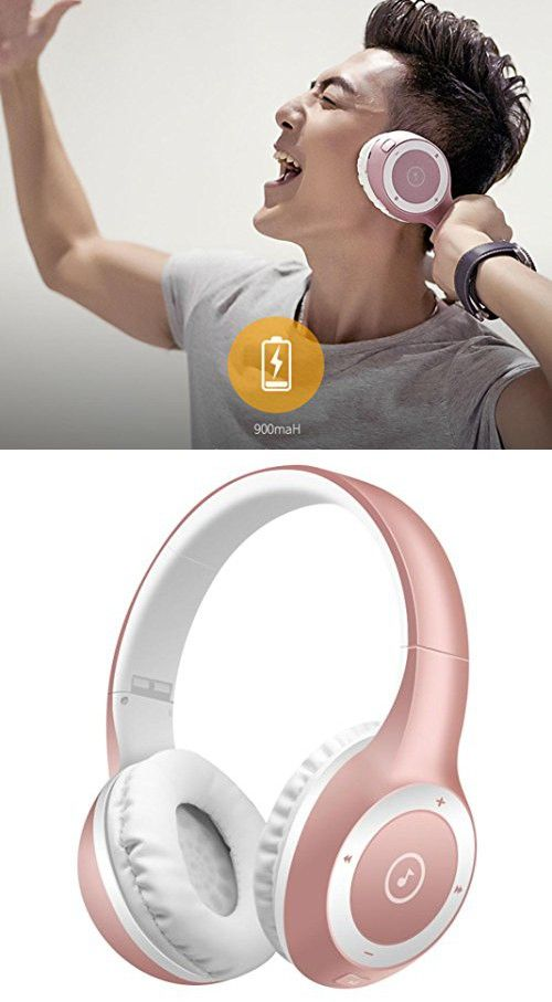 Larger Wireless Bluetooth Headphones,Sunfei Stereo Bluetooth Headphones Wireless Headset Foldable Gaming Headset Earphone V4.0 with Mic for Pc Mac SmartPhones (Rose Gold)