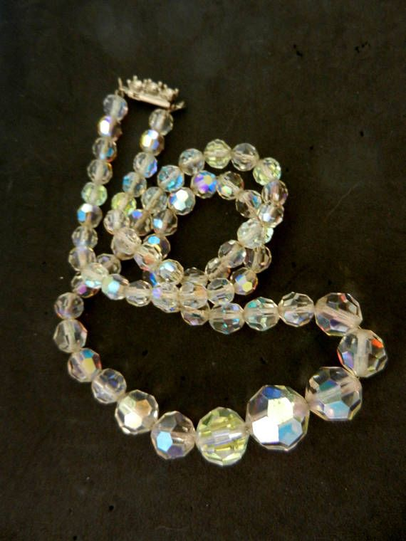 Art Deco Graduated Faceted AB crystal Bead Necklace with