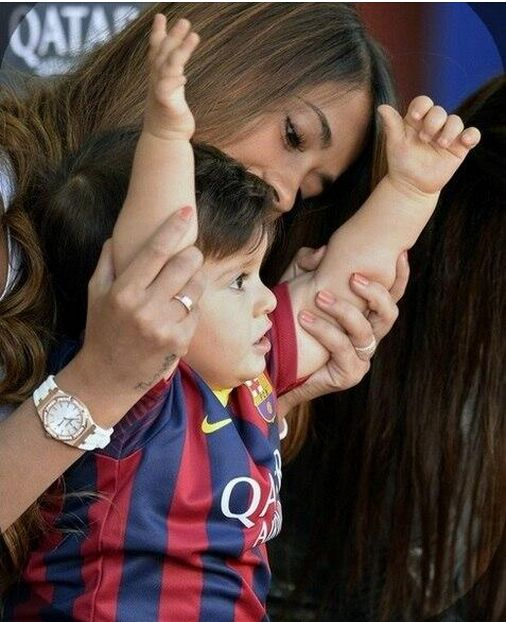 Messi's girlfriend Antonella with their son Thiago at the Camp Nou today