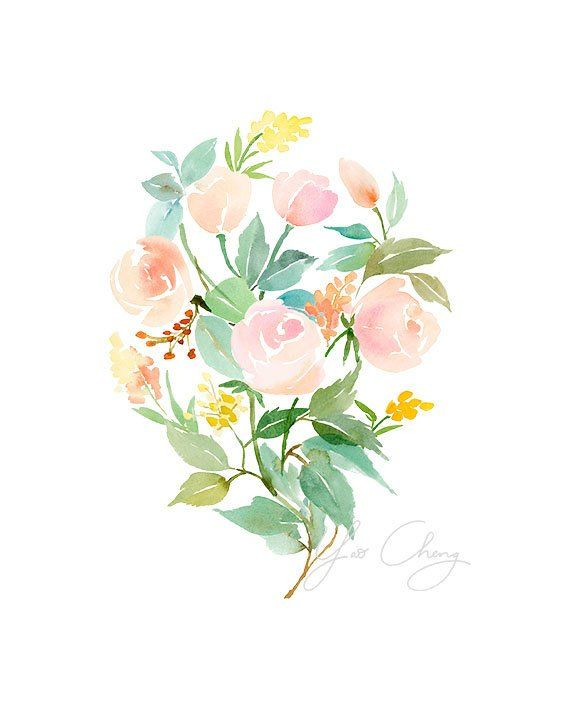 Rose Bouquet In Peach Watercolor Art Print Watercolor Art