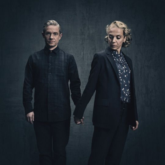 SHERLOCK (BBC) ~ Martin Freeman & Amanda Abbington S4 promo photo.