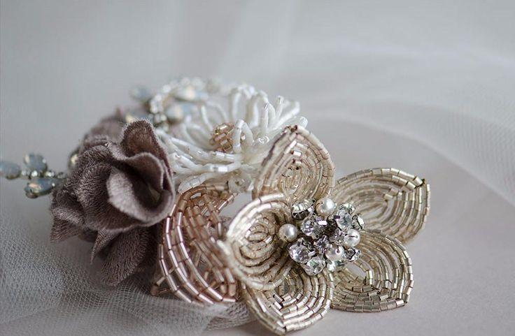 Rustic flower cluster wedding headpiece, French beaded flower hair comb, rustic bridal headpiece