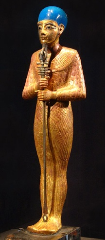 Egyptian, New Kingdom, Dynasty 18 (ca. 1332-1323 B.C.). Statue of Ptah. Gilded wood, faience and glass. H. 52.8 cm; W. 11.6 cm. Thebes, Valley of the Kings, Tomb of Tutankhamun (KV 62).