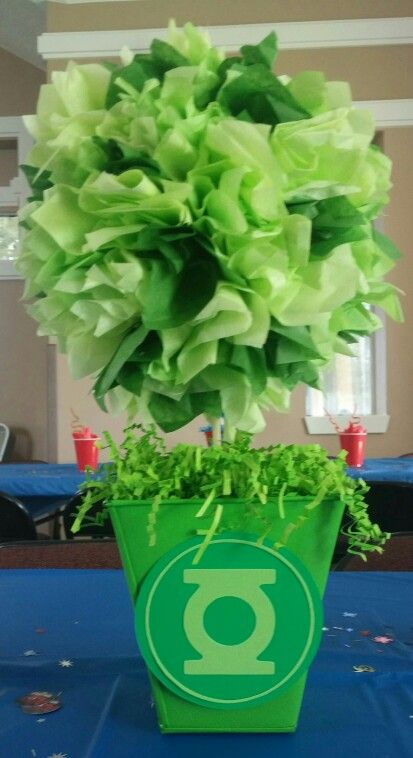 Green lantern center piece for superhero themed birthday party!(By rosaa10)…