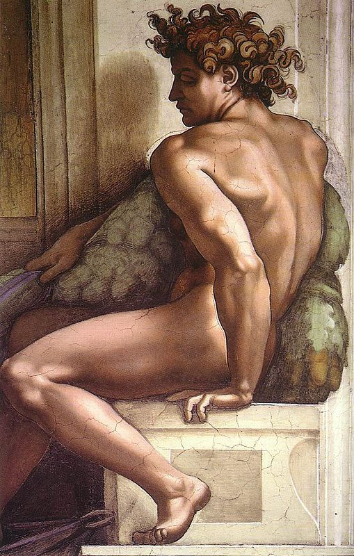 Image result for Ignudo fresco from 1509 on the Sistine Chapel ceiling