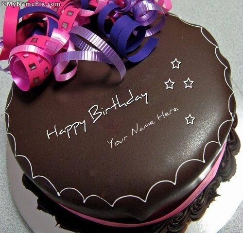 Write your own name on Chocolate Birthday Cakes