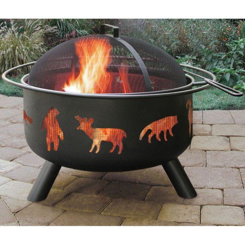 Landmann Big Sky Wildlife 29.25 in. Round Black Fire Pit - Fire Pits at Hayneedle