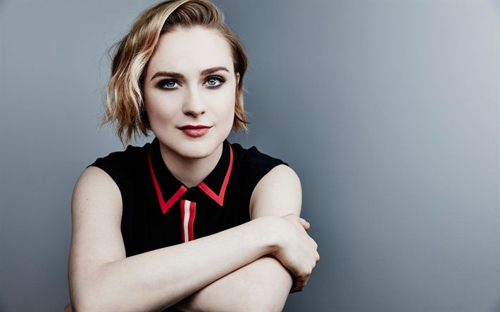 Download wallpapers Evan Rachel Wood, portrait, photoshoot, black dress, face, make-up, fashion model, American actress