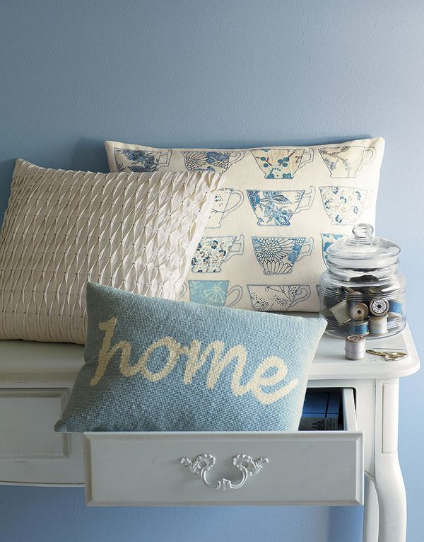 Perch this teacup pillow on a breakfast banquette. #lauraaskley