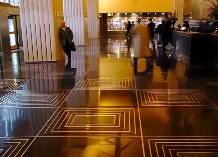 Black Terrazzo Brass Inlay Floors Rock Lobby