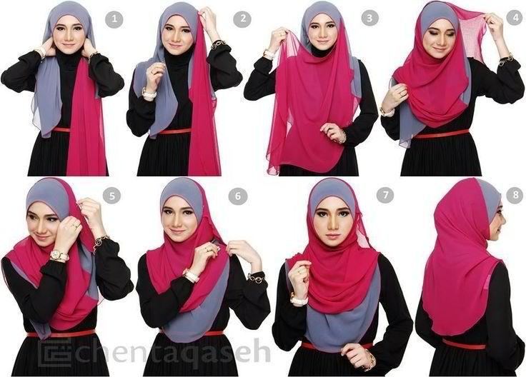 duo tone hijab tutorial