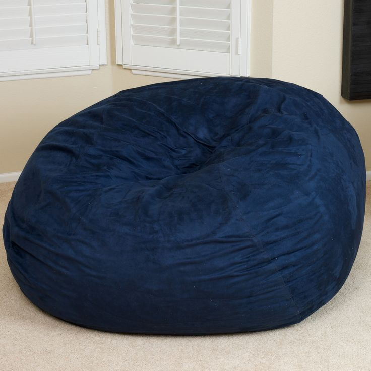 Harbor 3 Foot Faux Suede Midnight Blue Bean Bag Lounge In Style With The Made Microfiber And Eco Frien