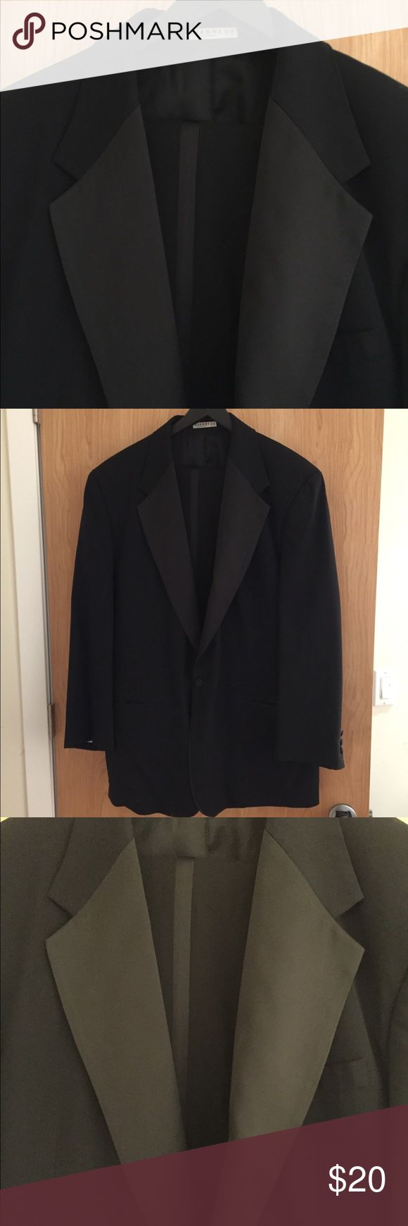 Men's Tuxedo jacket and pants Gianni brand black tuxedo style jacket with pants good condition. Pants 40 L, Jacket 48 long, 100% new wool, Dryclean only. gianni Suits & Blazers Tuxedos
