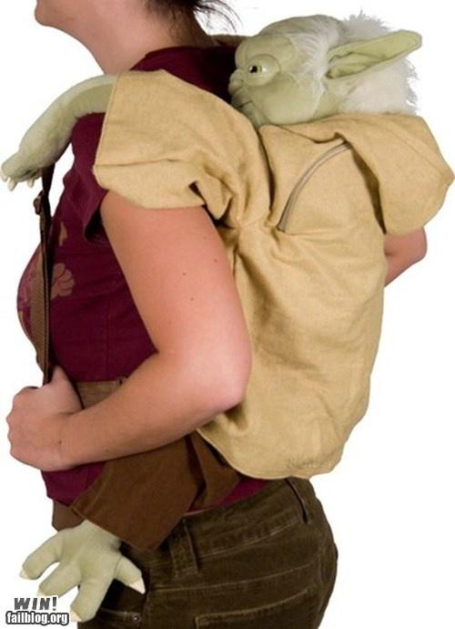 Backpack win.: Birthday, Plush Yoda, Yoda Stars, Star Wars, Stars Wars, So Funny, Yoda Backpacks, Law Schools, Starwars