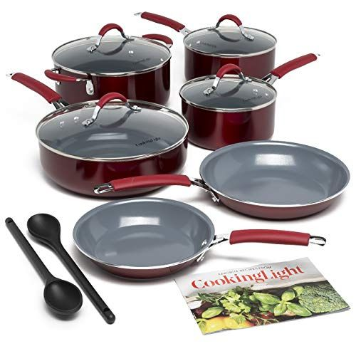Cooking Light Cccur 1213 Allure Non Stick Ceramic Cookware Multipurpose Use Silicone Stay Cool Handle Easy Clean 12 Piece Set Red Online Cooking Store In 2020 Ceramic Cookware Cooking Stores Ceramic Cookware Set
