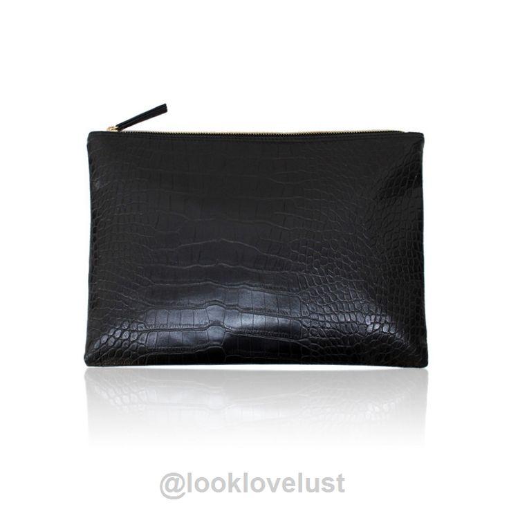Crocodile Grain Women's Evening Clutch - Black / Clutches - Handbags, www.looklovelust.com - 4