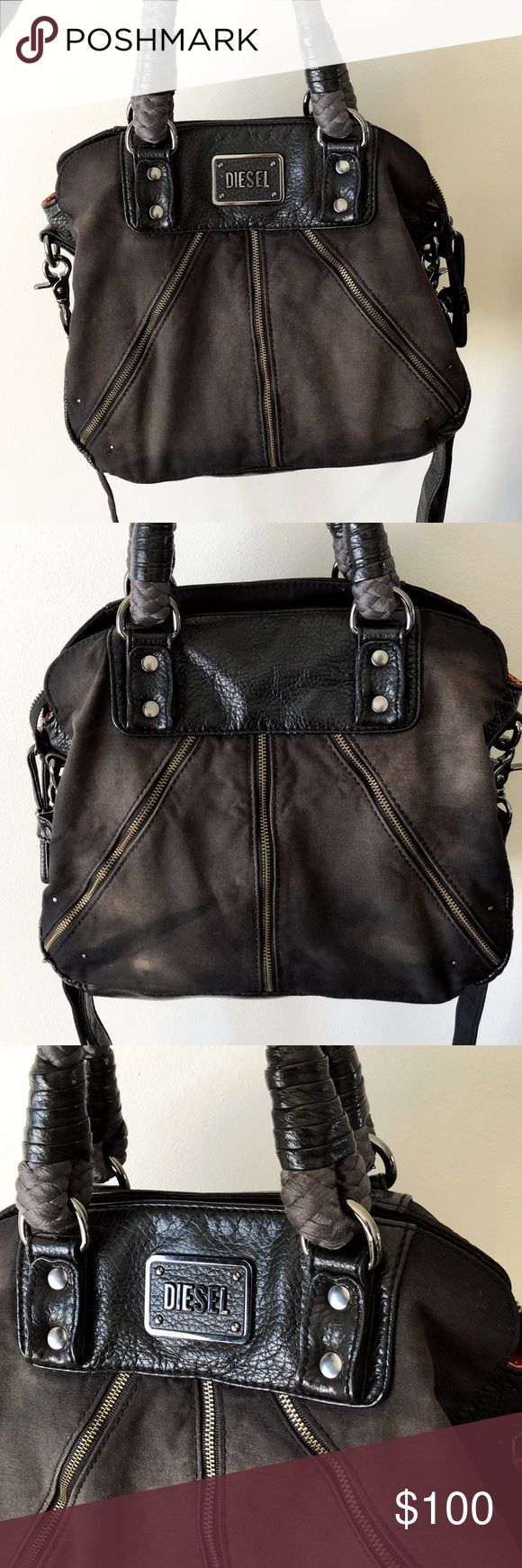 DIESEL handbag Distressed leather and canvas handbag from Diesel with crossbody strap. Like new condition. Orange interior lining.   10 1/2 x 12 inches Diesel Bags Crossbody Bags