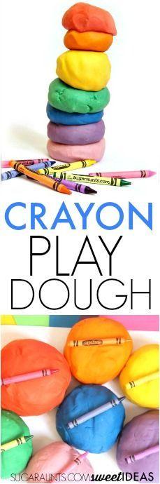 Use broken crayons to make soft crayon dyed play dough