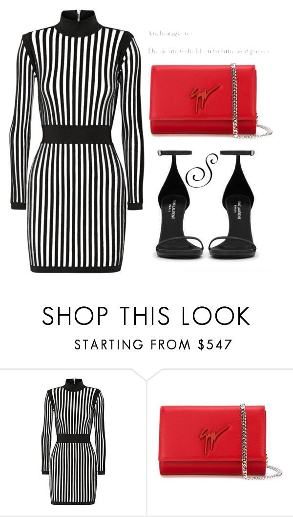 """""""Untitled #405"""" by styledbystephxx ❤ liked on Polyvore featuring Balmain, Giuseppe Zanotti and Yves Saint Laurent"""