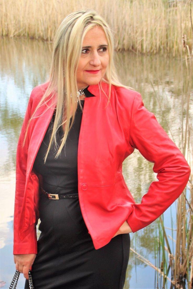 Lederjacke - Lederblazer im Business Style aus Echtleder in rot