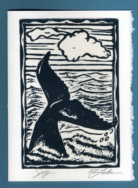 Linocut Whale tail by hawaiialoha on Etsy