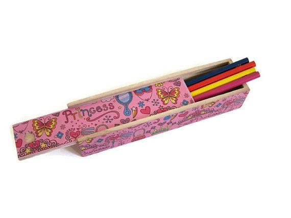Pink Princess Pencil Box - Decoupage Wooden Pencil Box - Desktop Pencil Box - Girl's School Pencil Box