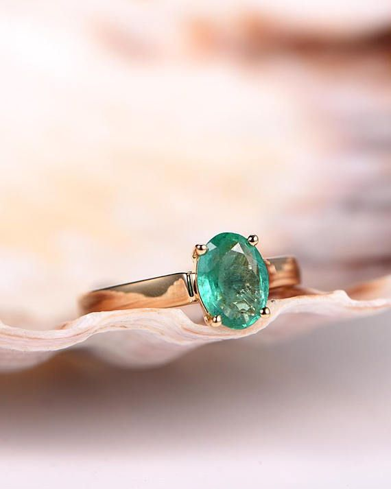 Natural emerald ring,emerald engagement ring,6x8mm oval cut gemstone,plain gold wedding band,solid 14k rose gold ring,anniversary ring
