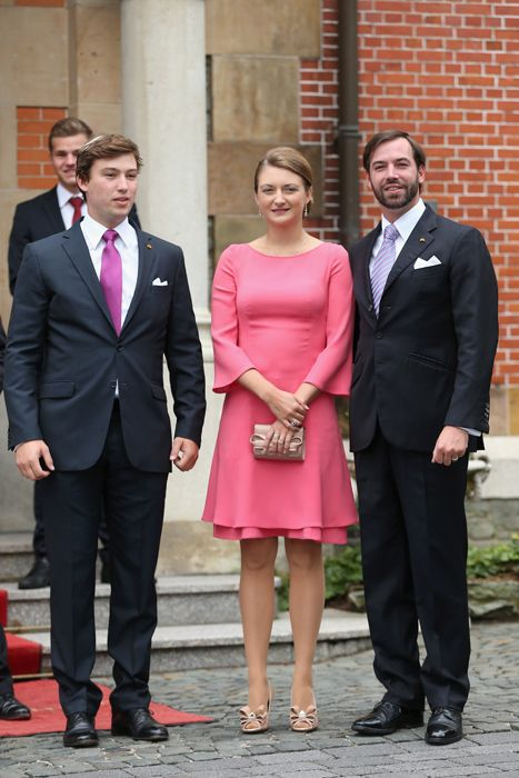 HGD Guillaume and wife Princess Stephanie of Luxembourg and Prince Sebastien attend the civil ceremony of his brother Prince Felix to Claire Lademacher 9/17/2013