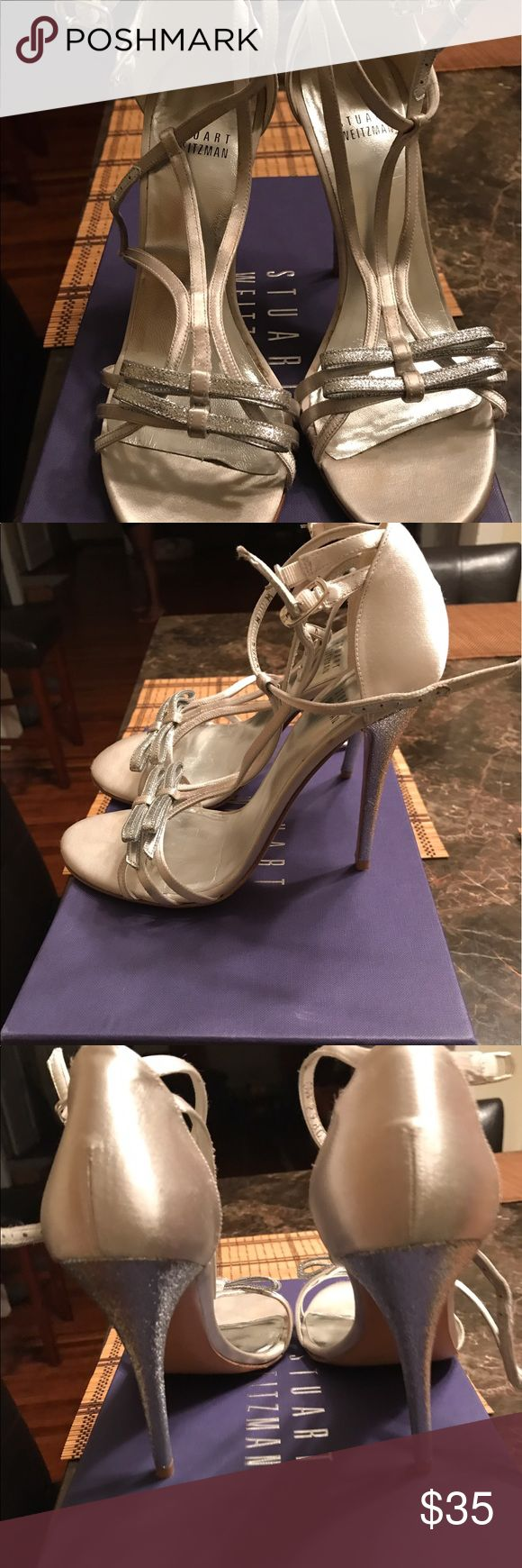 Silver evening shoes with bow on front Silver shoes with bow on front Stuart Weitzman Shoes Heels