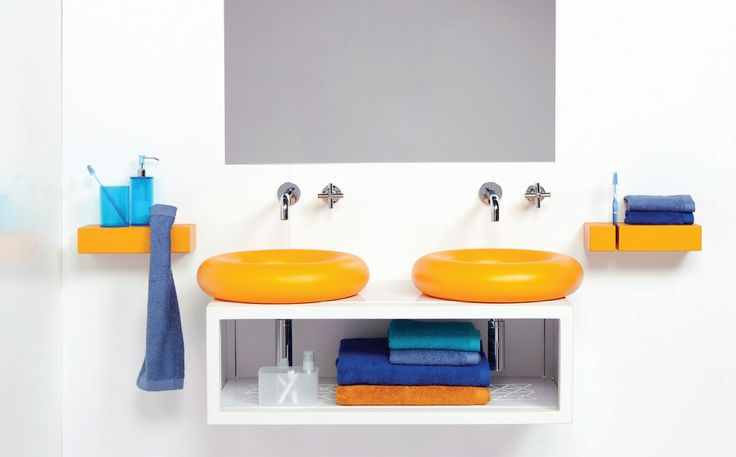 Cool inspiration for childrens bathroom  #Colourful #Symmetrical #Sink #Design #Bathrooms #Luxury #Fun  Casco Slavagente + Soso luxury Bathrooms, Boing By Hafele