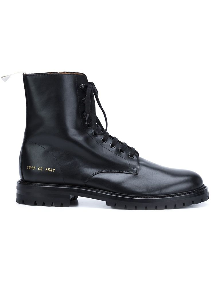 Common Projects black lace-up boots, shop now at Farfetch