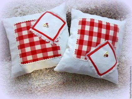 наволочки на подушку 2 штуки - ярко-красный,подушка,наволочка,лен,натуральные материалы