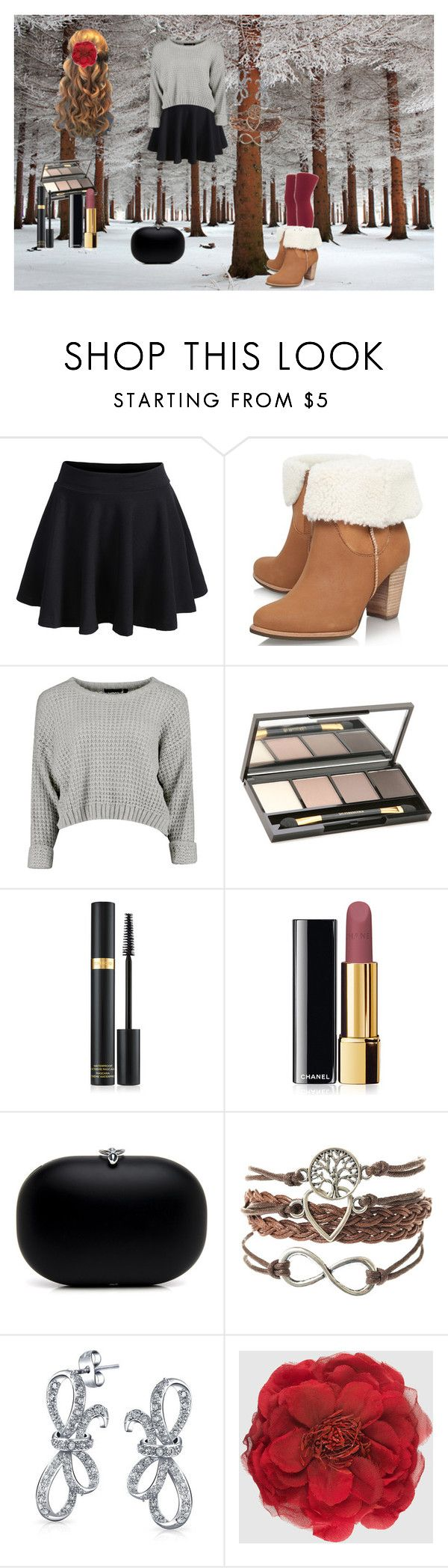 """Fashionable Winter Stroll"" by fashionista-chica-2002 ❤ liked on Polyvore featuring UGG Australia, Dr.Hauschka, Tom Ford, Chanel, Bling Jewelry, Gucci, Winter, cute, maroon and styleicon"