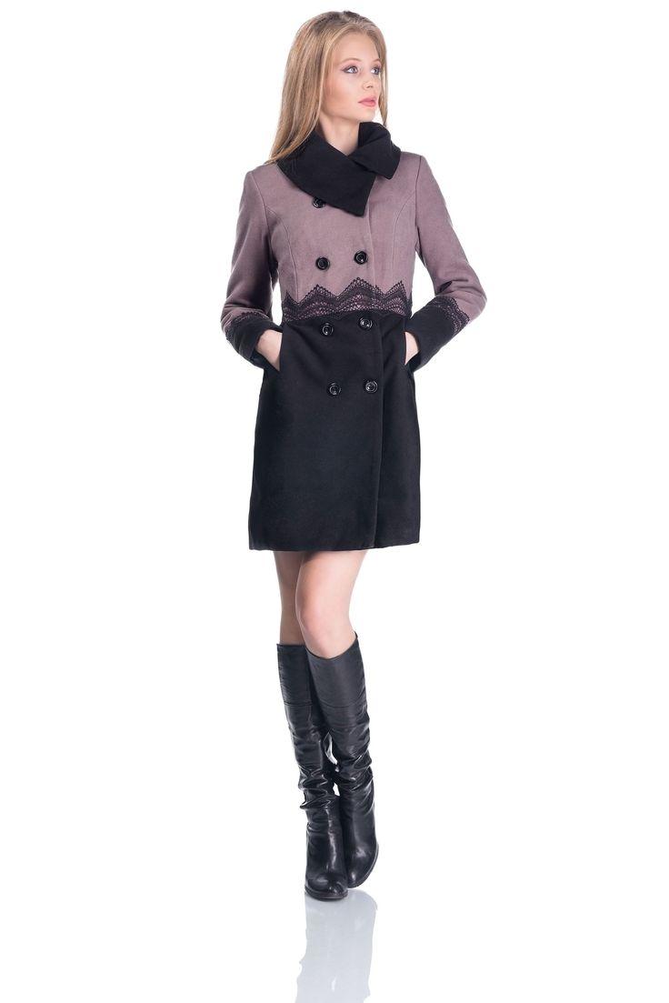 Palton de dama, stofa cu dantela, culoare mov/negru