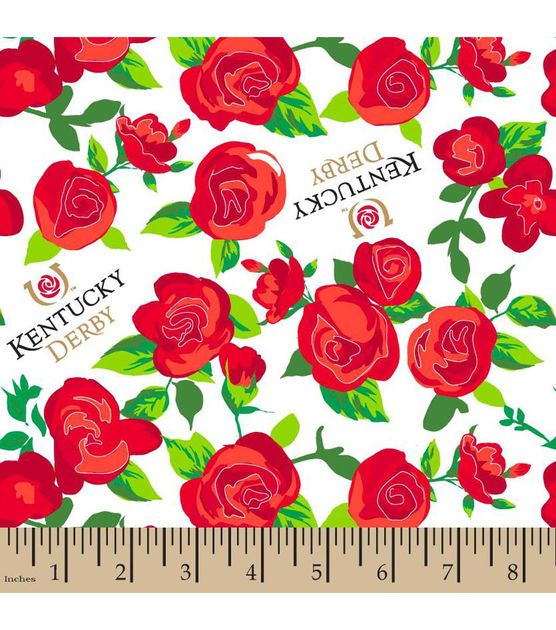 Kentucky Derby Winners Circle Roses Cotton Fabric