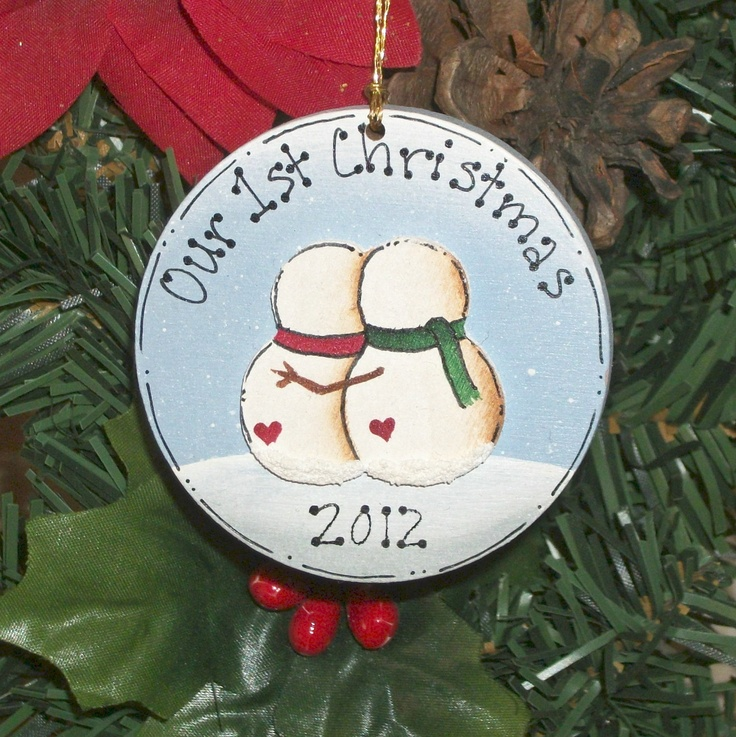 First Christmas Together Snowman Couple Ornament, Personalized Free. $5.95, via Etsy.