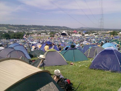 A sea of tents at glastonbury