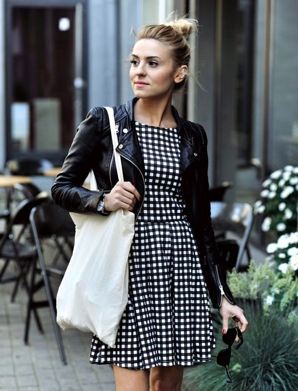 Black and white gingham dress with leather jacket.