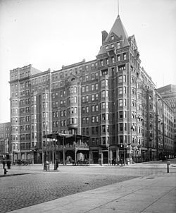 The Hollenden Hotel was a luxury hotel in downtown Cleveland, Ohio. It opened in 1885, was significantly upgraded in 1926 and demolished in 1962. During the hotel's existence, it contained 1,000 rooms, 100 private baths, a lavish interior, electric lights and fireproof construction.