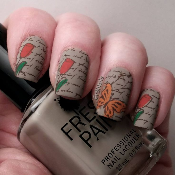 Butterfly nail art using Clear Jelly Stamper nail stamping plates.