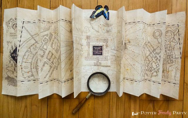 Potter Frenchy Party - Harry Potter marauder's map DIY - Carte du Maraudeur - Poudlard - Hogwarts printable