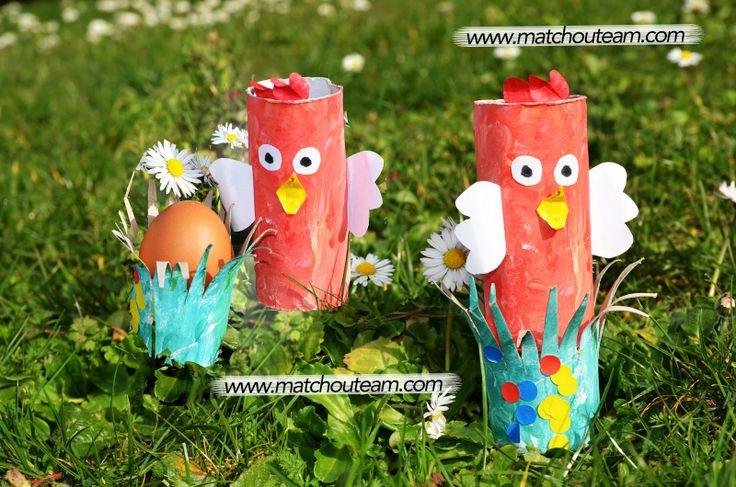 www.matchouteam.com la poule qui couve. Le bricolage amusant pour préparer Pâques