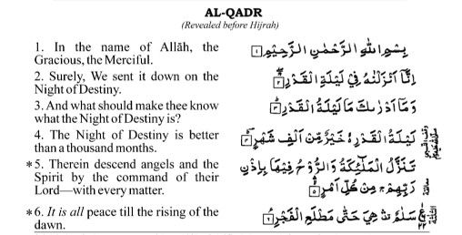 Hazrat Ali RA narrates: Whoever reads Surah Qadr 7 times during the night of Laylatul Qadr, Allah c will safeguard him from all difficulties and 70.000 angels will make dua for Jannat for the reciter.